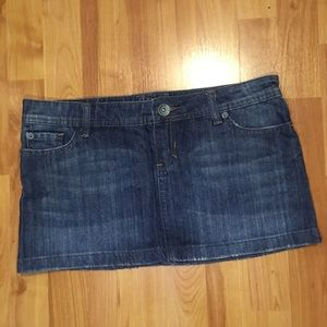 Dark blue denim miniskirt